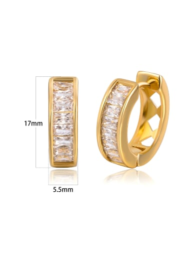 European and American Metal-Fashion Square zircons studs earring