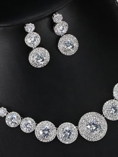 Simple Round Zircon Two Pieces Jewelry Set