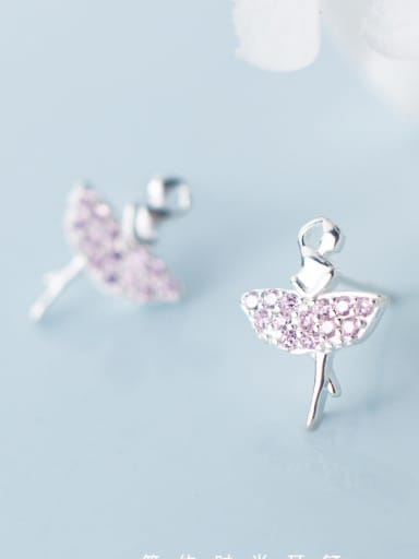 925 Sterling Silver With Silver Plated Cute Ballet girl Stud Earrings