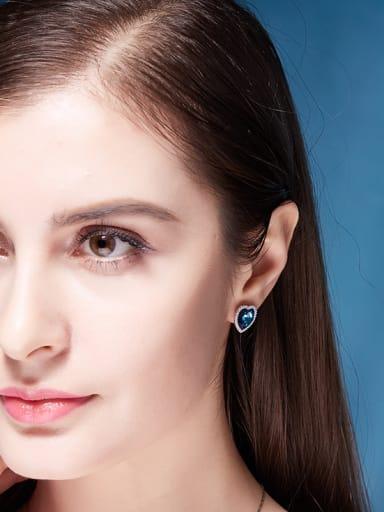 Blue Crystal Heart-shaped stud Earring