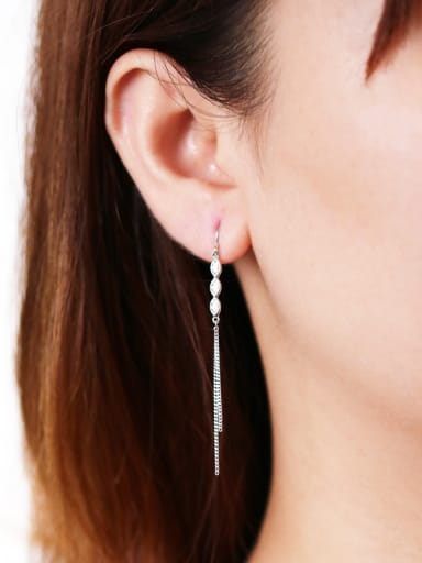 925 Sterling Silver With Cubic Zirconia Trendy  Flow comb Drop Earrings
