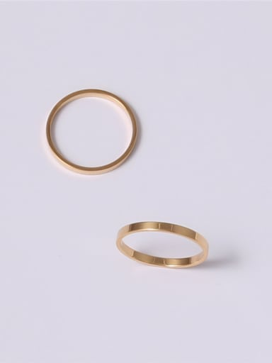 Titanium With Gold Plated Simplistic  Smooth Round Band Rings