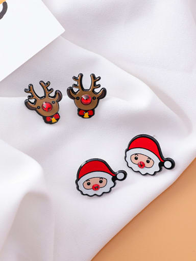 Alloy With Gold Plated Trendy Santa Claus Snowman Stud Earrings