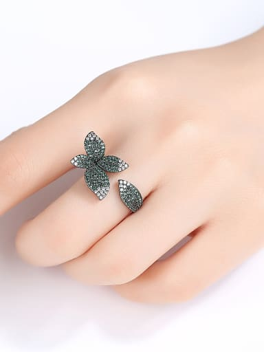 Copper With Cubic Zirconia Delicate Flower  Free Size Rings