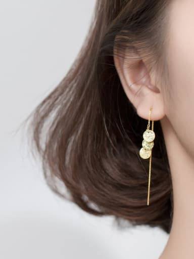 925 Sterling Silver With Gold Plated Simplistic Round Threader Earrings