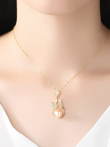 Pure Silver Natural Freshwater Pearl water wave chain necklace
