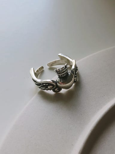 925 Sterling Silver With Antique Silver Plated Wings Vintage Old Ring Free Size Rings