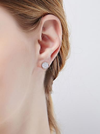 Simple Zircon Round Stud Earring