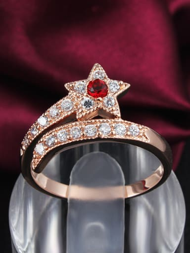 Red Rose Gold Plated Star Shaped Zircon Ring