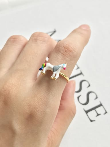 Sterling Silver Gold Unicorn ring