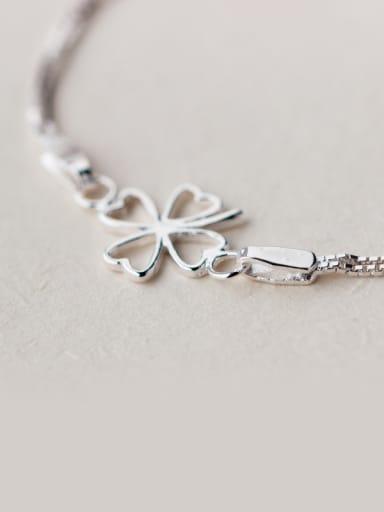 S925 Silver Fresh Clover Double Line  Women' Bracelet
