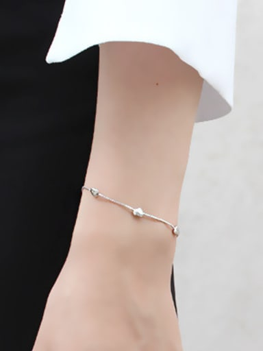 Simple Tiny Hearts Smooth Silver Women Bracelet
