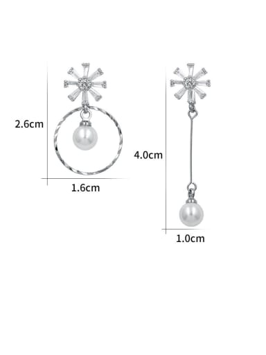 Copper With Platinum Plated Simplistic Flower Drop Earrings