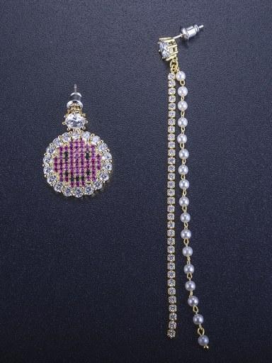 Bling-bling zircon lovely smiling face asymmetrical Imitation pearls Tassel Earrings