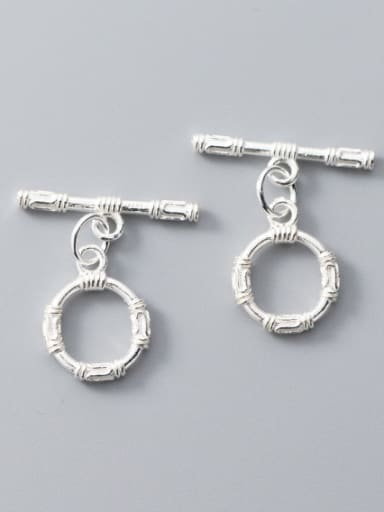 Thai Silver With Antique Silver Plated Vintage Round Bracelet connection buckle