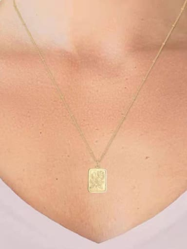Titanium With Gold Plated Personality Square Rose Necklaces
