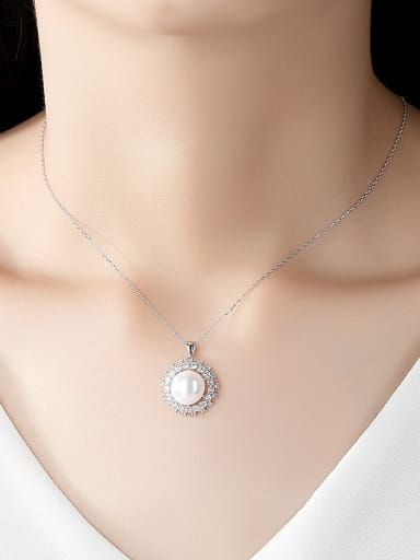 925 Sterling Silver With Artificial Pearl Simplistic Round Necklaces