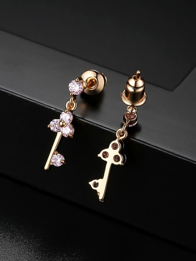 Copper With 3A cubic zirconia Fashion Locket Drop Earrings