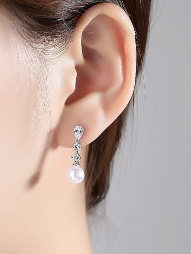 Copper With 3A cubic zirconia Trendy Ball Earrings