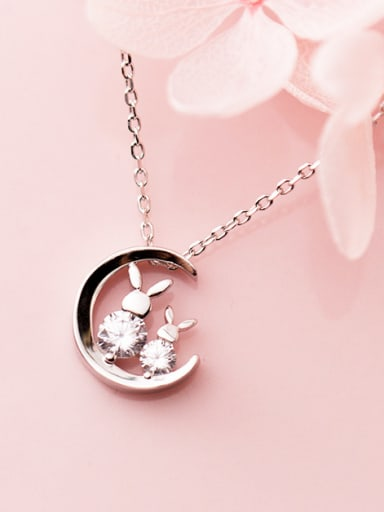 925 Sterling Silver With Platinum Plated Personality Moon Rabbit Necklaces