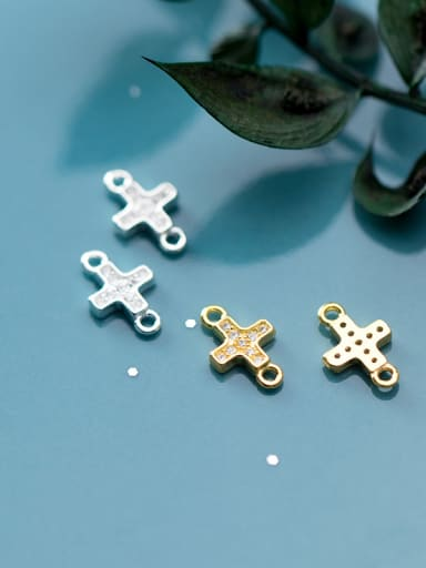 925 Sterling Silver With  Cubic Zirconia Simplistic Cross Beads