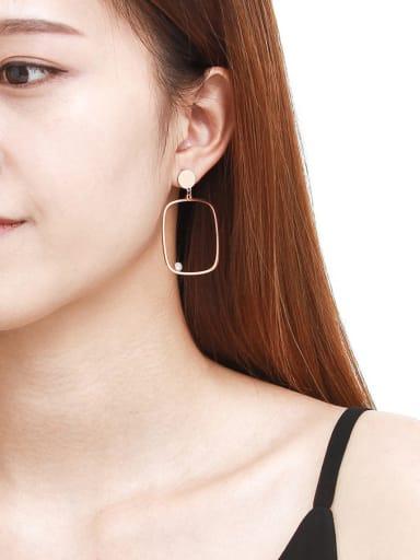 Titanium Rose Gold  Zircon Square  hoop earring