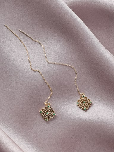 Alloy With Gold Plated Personality  Hollow  Geometric Threader Earrings
