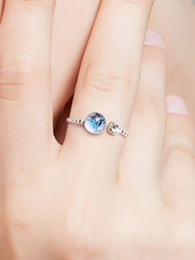 Fashion Blue Swarovski Crystal 925 Silver Opening Ring