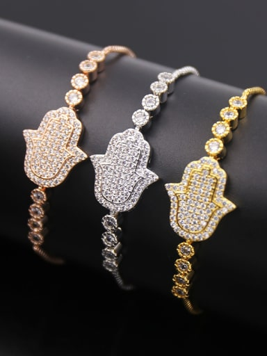 Palm Shaped Zircon Stretch Bracelet