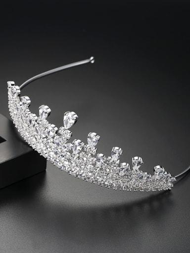 Copper inlay AAA zircon bride luxury crown hair accessory
