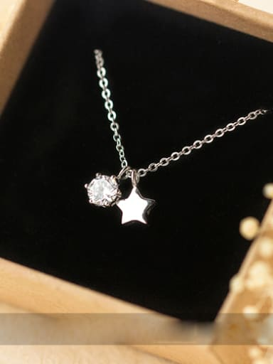 S925 Silver zircon Star Sweet Short Necklace