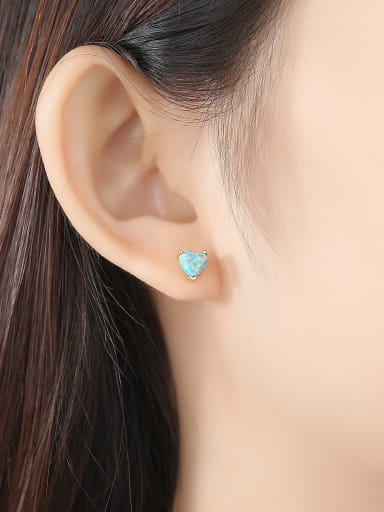 925 Sterling Silver With Opal Cute Heart Stud Earrings