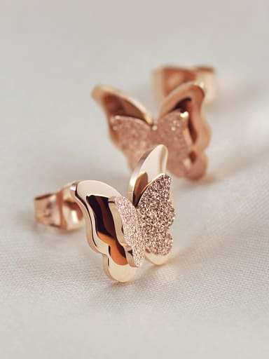 Fashion Butterfly Rose Gold Plated Stud Earrings