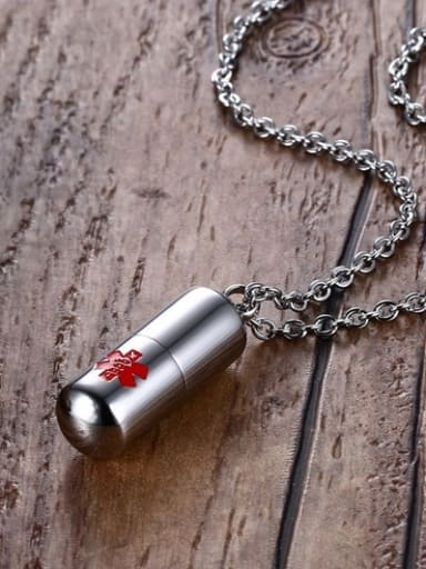 Personality Pill Shaped Titanium Polished Necklace