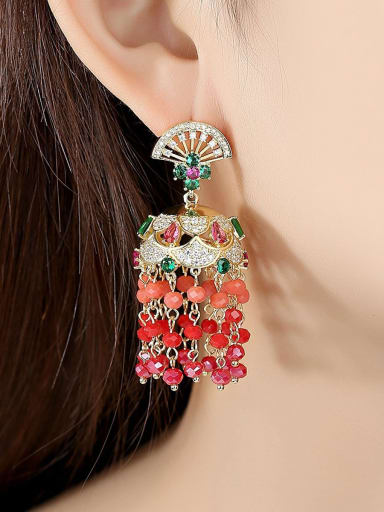 Copper With Gold Plated Bohemia Tassel Drop Earrings