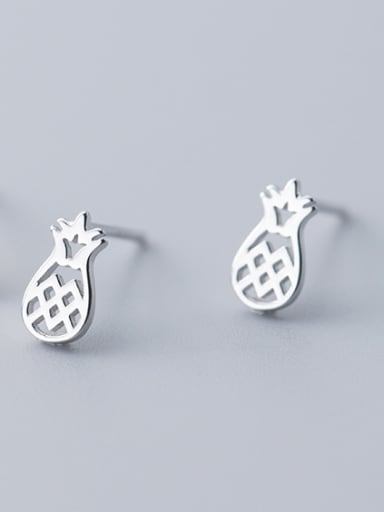 925 Sterling Silver With Silver Plated Cute Friut Pineapple Stud Earrings