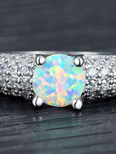 Claw Round Shaped AAA Zircons White Gold Plated Ring