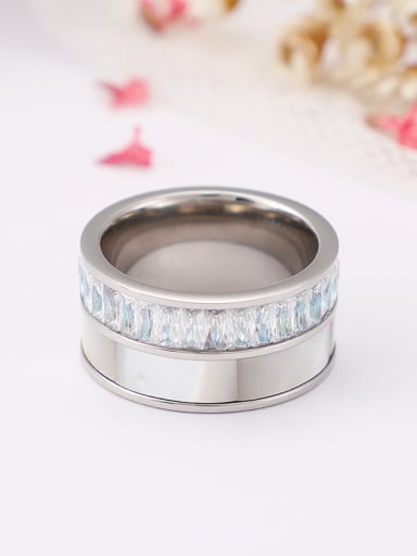 Stainless Steel With Cubic Zirconia Trendy Band Rings