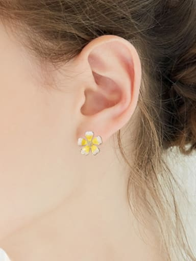 Personalized Little Bee Flower Copper Stud Earrings