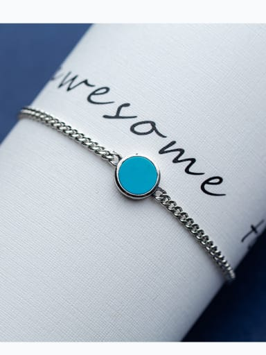 Pure blue synthetic Blue Turquoise round Bracelet