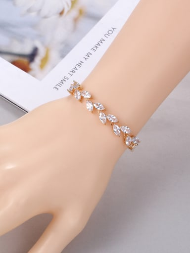 Copper With Cubic Zirconia  Simplistic Leaf Adjustable Bracelets