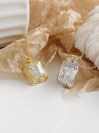 925 Sterling Silver With  Cubic Zirconia Simplistic Square Necklaces