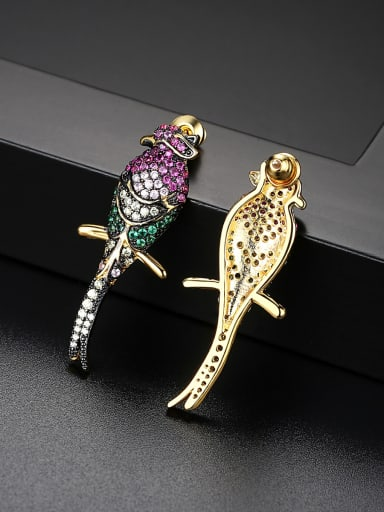 Copper With Gold Plated Personality Colorful bird Cluster Earrings