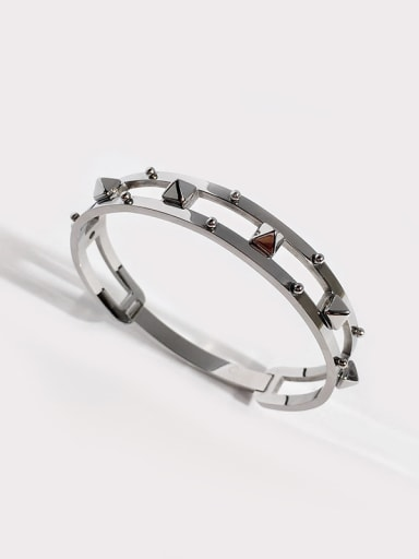 Titanium With Hollow   Punk Cone Double Row Trend  Bracelet  Bangles