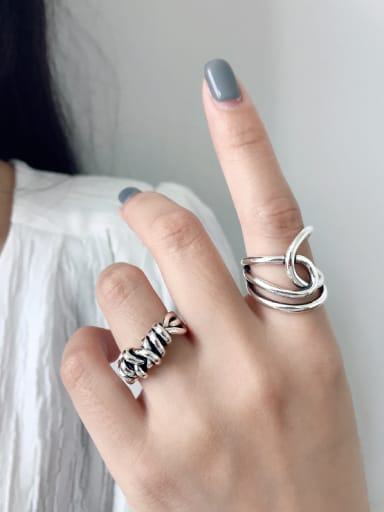 925 Sterling Silver With Platinum Plated Personality Irregular Free Size Midi Rings
