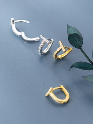"925 Sterling Silver With  Cubic Zirconia Simplistic letter ""D"" Clip On Earrings"