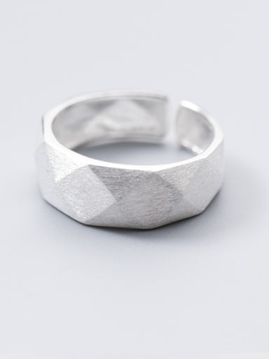 S925 Silver Ring female wind simple cut wire face cut ring temperament personality opening index finger ring J4460
