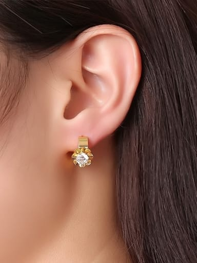 Exquisite Gold Plated Flower Shaped AAA Zircon Clip Earrings