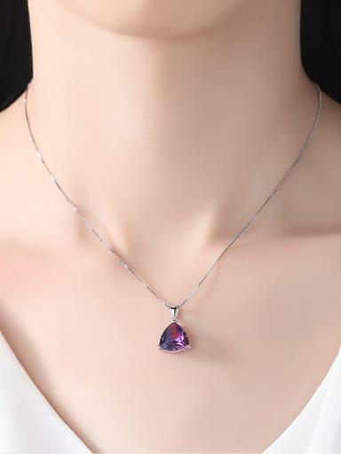 Sterling silver Rainbow semi-precious stones Triangle necklace