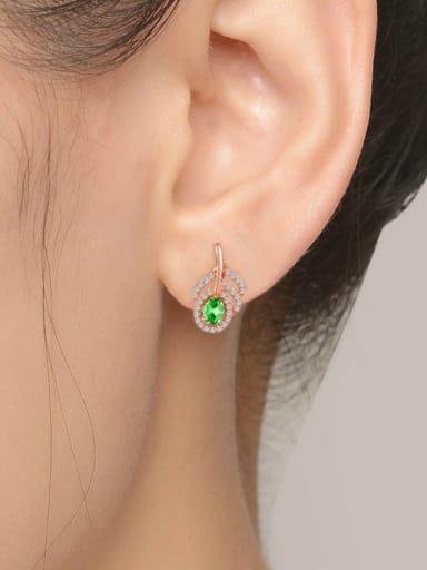 Leave-shape Micro Pave Zircon Natural Stones Stud Earrings